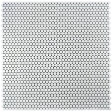 """Retro .75"""" x .75"""" Penny Round Porcelain Mosaic Tile in Glossy White"""