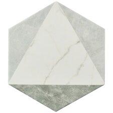 "Karra 7"" x 8"" Porcelain Mosaic Tile in White/Gray"