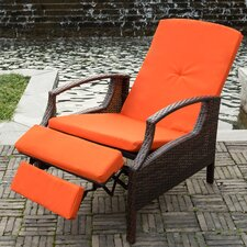 Adjustable Wicker Patio Reclining Lounge Chair with Cushions