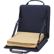 Stadium Seat with Tan Blanket in Navy