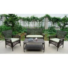 Flowers All Weather Wicker 4 Piece Longe Sectional Seating Group with Cushion