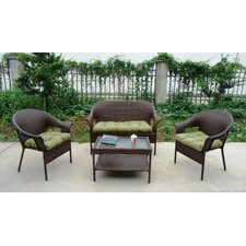 Garden Trellis All Weather Wicker 4 Piece Lounge Seating Group with Cushion