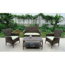 North Hampton All Weather Wicker 4 Piece Lounge Seating Group with Cushion