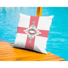 Coral Mint Southwestern Cross Outdoor Throw Pillow