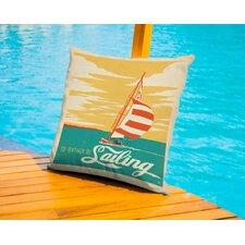 I'D Rather Be Sailing Lake Outdoor Throw Pillow