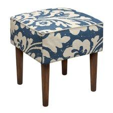 Jacobean Floral Upholstered Vanity Stool