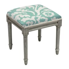 Jacobean Floral Upholstered Wooden Vanity Stool
