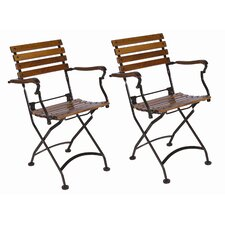European Caf? Folding Dining Arm Chair (Set of 2)