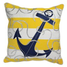 I Sea Life Stripe Embroidered Anchor Indoor/Outdoor Sunbrella Throw Pillow