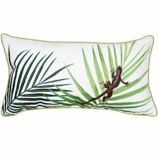 I Sea Life Coastal Palms with Lizard Lumbar Outdoor Sunbrella Throw Pillow