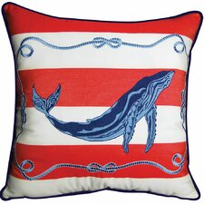 I Sea Life Blue Whale Striped Outdoor Sunbrella Throw Pillow