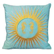I Sea Life Embroidered Seahorse and Sun Outdoor Throw Pillow