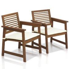 Tioman Teak Hardwood Outdoor Chair with Cushion (Set of 2)