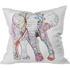 Casey Rogers Elephant Indoor/Outdoor Throw Pillow