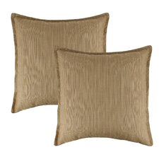 Dupione Bamboo Outdoor Sunbrella Throw Pillow (Set of 2)