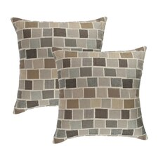 Blox Slate Outdoor Sunbrella Throw Pillow (Set of 2)