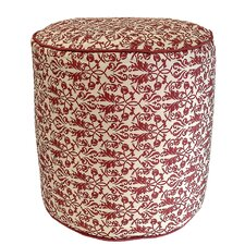 Terracotta Floral Outdoor Pouf Ottoman