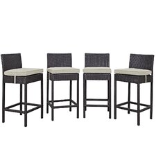 Convene Outdoor Patio Pub Dining Chair with Cushions (Set of 4)