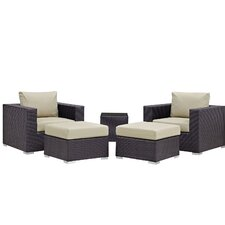 Convene 5 Piece Outdoor Patio Sectional Set with Cushions