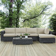 Top Reviews Summon 5 Piece Deep Seating Group with Cushion