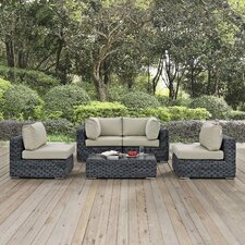 Summon 5 Piece Sectional Deep Seating Group with Cushion