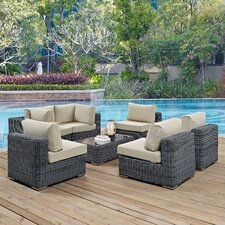 Summon 7 Piece Outdoor Patio Sectional Seating Group with Cushion