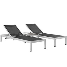 Shore Outdoor Patio 3 Piece Single Chaise and Table Set (Set of 3)