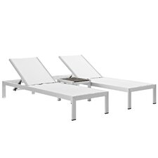 Shore Outdoor Patio 3 Piece Single Chaise and Table Set