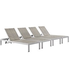 Shore Outdoor Patio Single Chaise (Set of 4)