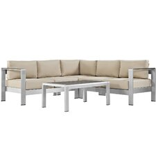 Shore Outdoor Patio Aluminum 4 Piece Sectional Seating Group with Cushion