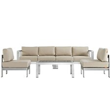 Shore 5 Piece Sectional Seating Group with Cushions