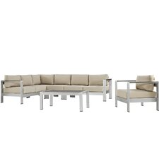 Shore Outdoor Patio Aluminum 6 Piece Sectional Seating Group with Cushion