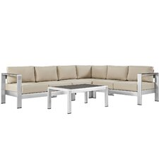 Shore Outdoor Patio Aluminum 5 Piece Sectional Seating Group with Cushion