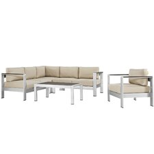 Shore Outdoor Patio Aluminum 5 Piece Deep Sectional Seating Group with Cushions
