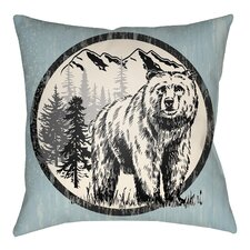Lodge Cabin Bear Throw Pillow