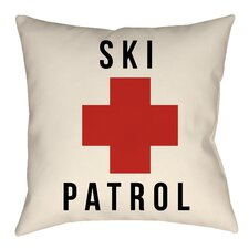 Lodge Cabin Ski Patrol Indoor/Outdoor Throw Pillow