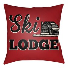 Lodge Cabin Ski Lodge Indoor/Outdoor Throw Pillow
