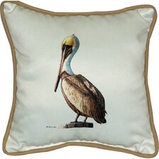 Coastal Pelican Border Indoor/Outdoor Throw Pillow