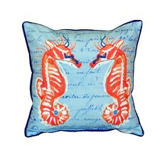 Coral Sea Horses Indoor/Outdoor Throw Pillow