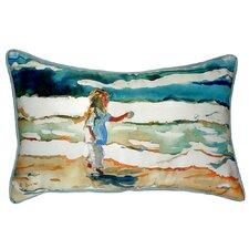 Girl at the Beach Indoor/Outdoor Lumbar Pillow