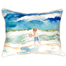Boy and Ball Indoor/Outdoor Lumbar Pillow