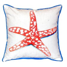 Modern Coral Starfish Indoor/Outdoor Throw Pillow
