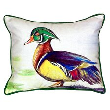 Male Wood Duck Script Indoor/Outdoor Lumbar Pillow