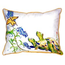 Turtles and Butterfly Indoor/Outdoor Lumbar Pillow