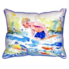 Boy and Fish Indoor/Outdoor Throw Pillow