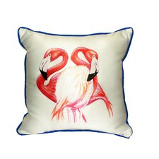 Two Flamingos Indoor/Outdoor Throw Pillow