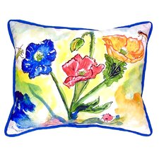 Bugs and Poppies Indoor/Outdoor Lumbar Pillow