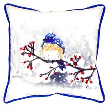 Bird and Snow Indoor/Outdoor Throw Pillow