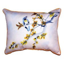 Bird & Forsythia Outdoor Lumbar Pillow