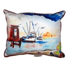 Dock & Shrimp Boat Indoor/Outdoor Lumbar Pillow